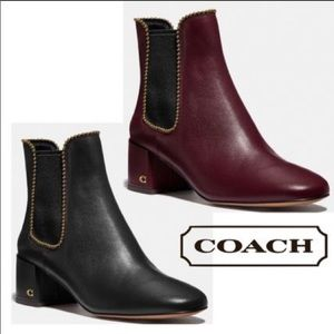 Coach TORRI Embellished Leather Chelsea Ankle Boot